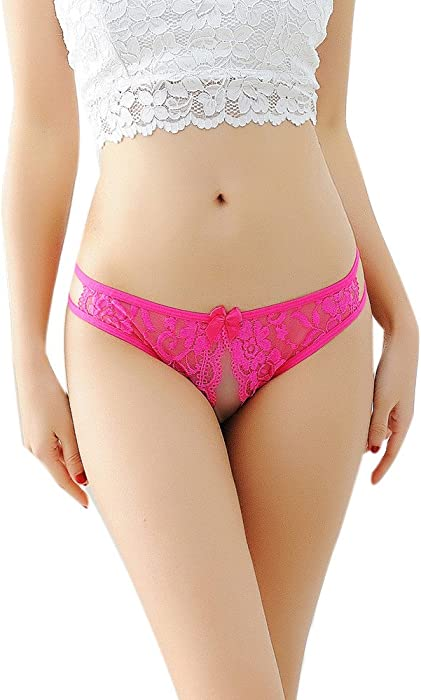 86cc281d5ca Women Underwear Sexy Crotchless Cage Open Back Panty Bikini Thong Lace  Lingerie Briefs (Free Size