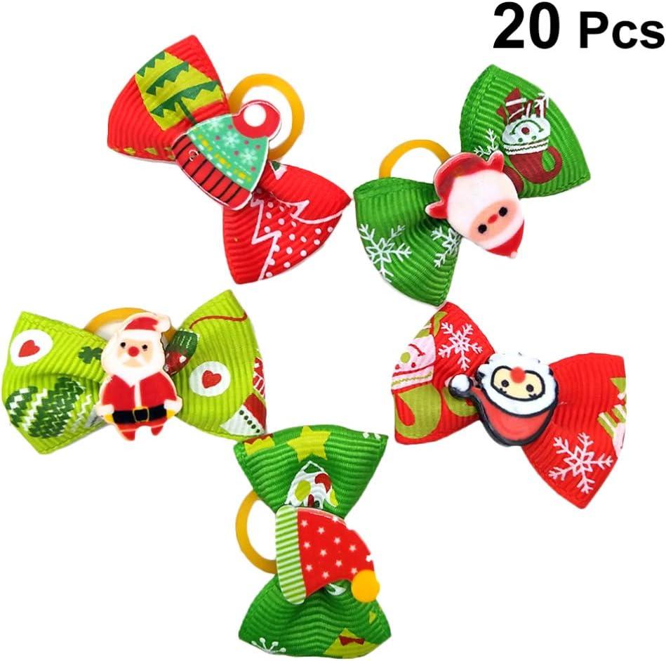 Balacoo 20pcs Accesorios para el Cabello de Perro de Navidad con Bandas de Goma Bowknot Anillos para el Cabello de Mascotas Titular de Cola de Caballo para Mascota Gato Perro Estilo Mixto