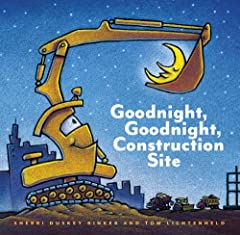 As the sun sets behind the big construction site, all the hardworking trucks get ready to say goodnight. One by one, Crane Truck, Cement Mixer, Dump Truck, Bulldozer, and Excavator finish their work and lie down to rest—so they'll be ready fo...