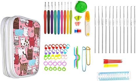 Juego de 73 agujas de ganchillo ergonómicas para tejer, tejer, tejer, tejer, tejer, tejer, tejer, costura, herramientas de costura, manualidades, crochet, accesorios con estuche para mujer y mamá: Amazon.es: Juguetes y juegos