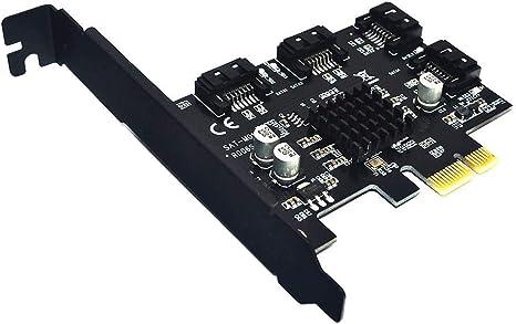 BEYIMIE Tarjeta SATA PCIe de 4 puertos,tarjeta de expansión del ...