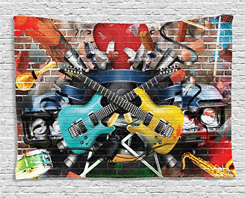 Ambesonne Music Tapestry, Collage of Music Color and Musical Instruments Street Wall Art Joyful Nostalgia Print, Wide Wall Hanging for Bedroom Living Room Dorm, 80