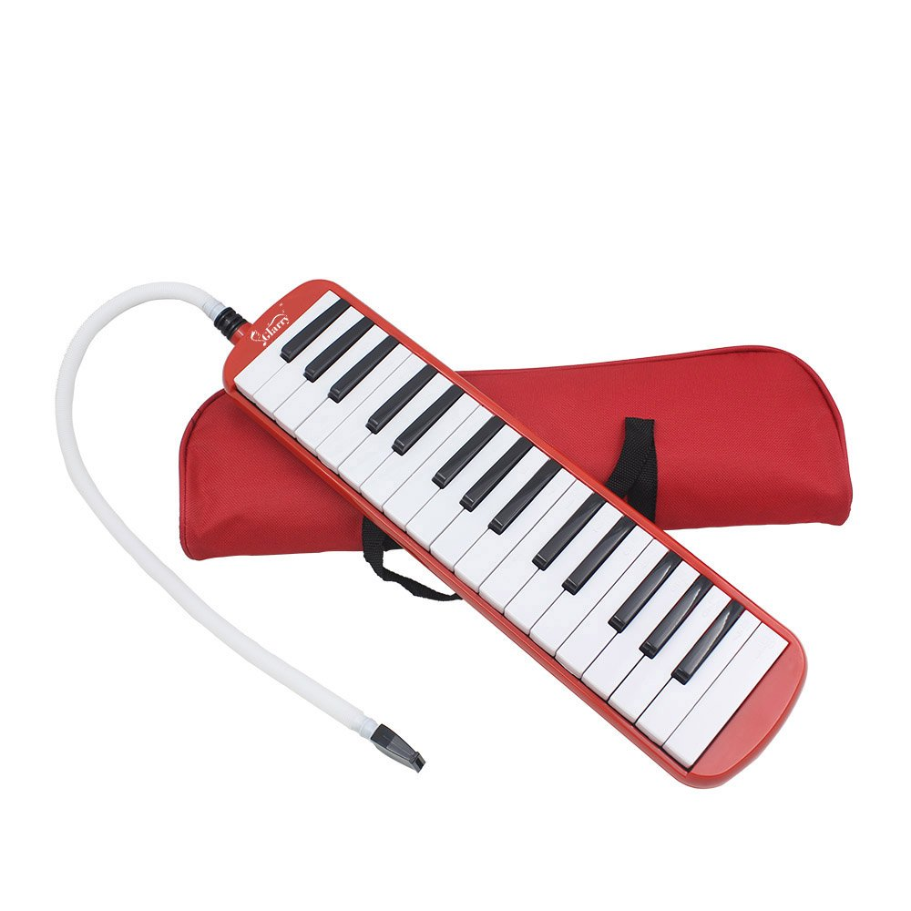 Kuyal 32 Key Melodica, Piano Style Melodica Keyboard, Musical Education Instrument For Music Lovers Beginners And Children With Mouthpiece & Hose & Bag (Red) by Kuyal (Image #1)