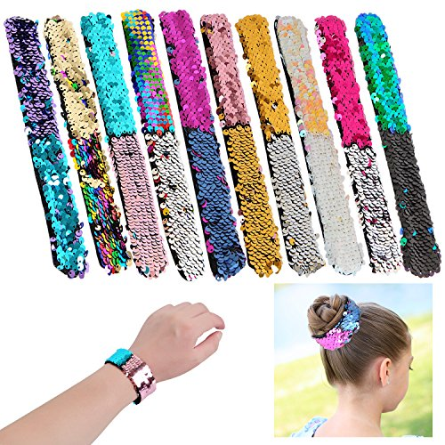 YUEAON slap bracelets party favors for kids,Magic Sequins bracelet bands for party supplies boys girls gift 10 pack -