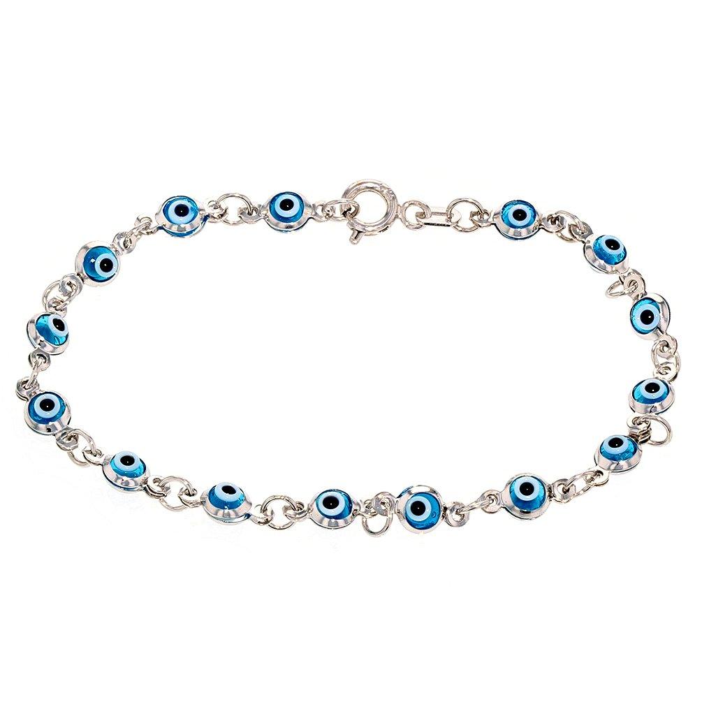 Polished 14k White Gold Blue Eye Good Luck Baby Bracelet, 6'' by JewelryAmerica