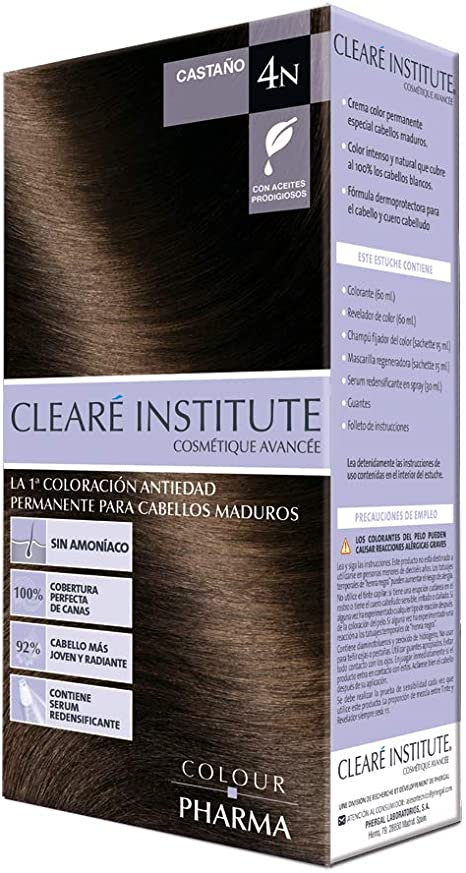 Colour Pharma Tinte Sin PPD ni Amonicaco   Coloración Antiedad   100% Cobertura de Canas Rebeldes, Con Serum Redensificante   4N. Castaño   180ml