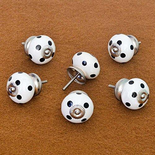 Pastel Country Set of 6 Dark Blue Dot Polka Pattern Ceramic Knobs Cabinet Drawer Handles Pulls (Knob Dots Pink Polka)