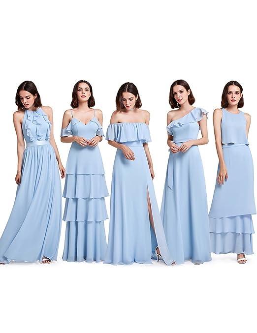 Review Ever-Pretty Womens Elegant Sleeveless Floor Length Ruffles Chiffon Bridesmaids Dress 07201
