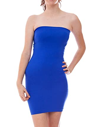 Royal Blue Ladies Tube Dress Elastic Ribbed Waist and Top Band at ...