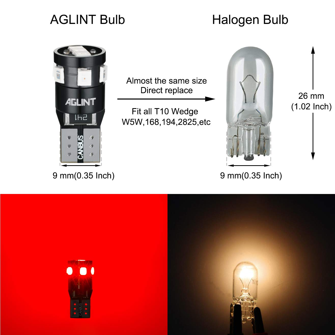 AGLINT T10 W5W CANBUS LED Bulbs 2835 9SMD Super Bright 194 2825 168 Wedge for Car Interior Dome Map Door Side Marker Courtesy License Plate Lights 4300K