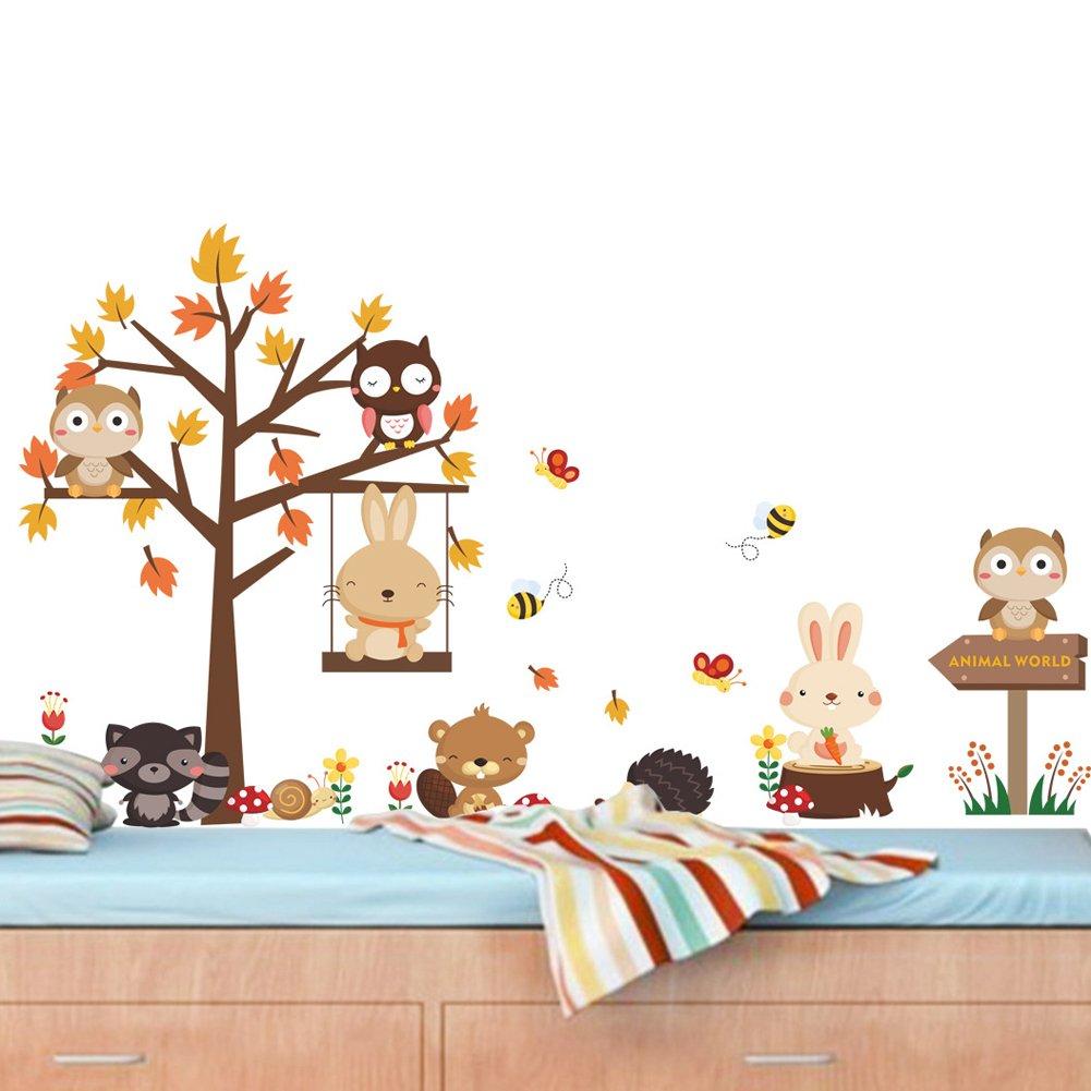 Enfants B/éb/é Chambre P/épini/ère DIY D/écoratif Adh/ésif Stickers Mural Wallpark Dessin anim/é Animal For/êt Mignon Hibou Lapin /Érable Feuilles Arbre Amovible Stickers Muraux Autocollants
