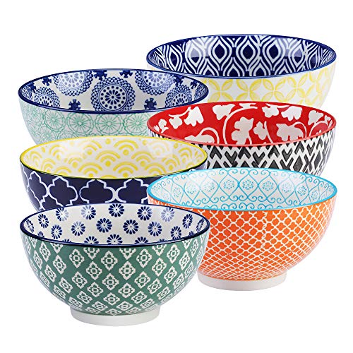 (E-Gtong Hand-Painted Cereal Bowls, Porcelain Ceramic Soup Bowls for Pasta, Soup, Salad and Rice, Microwave & Dishwasher Safe - Multicolor, Set of 6 (21.8 OZ))