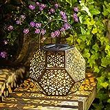 Solar Lantern Hanging Garden Outdoor Lights Metal Waterproof LED Table Lamp (Bronze)