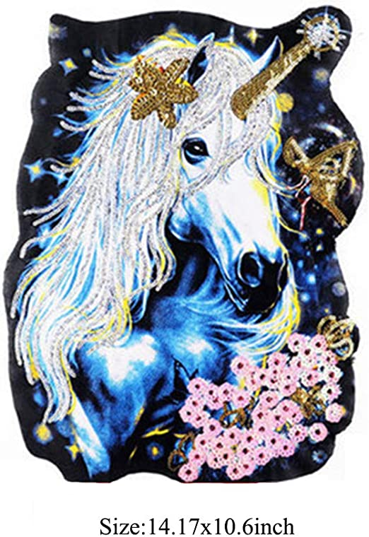 7 SEVENTOPIA Unicorn Sequin Embroidered Patches Applique 2 Pack DIY Sew Iron on Large Patches for Backpacks Handbags