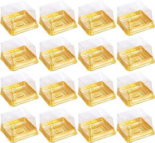 BESTONZON 50 piezas Luna Cake Cajas Cuadradas Hornear Plástico Oro, Huevo Oro-Yolk Puff Caja de Embalaje para Pastelería Queso Pastel Postre: Amazon.es: Hogar