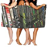 PengMin Twin Tip Snow Skis Premium 100% Polyester Large Bath Towel, Suitable For Hotel, Swimming Pool, Gym, Beach, Natural, Soft, Quick Drying