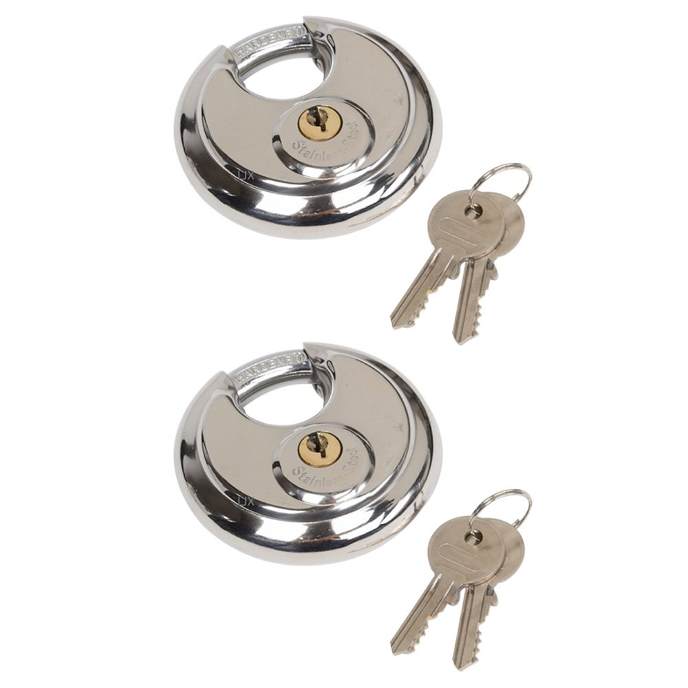 Highmoor Stainless Steel Round Padlock with Shielded Shackle, Heavy Duty Disc Pad Lock for Storage Units 2-3/4'' 70mm (2)