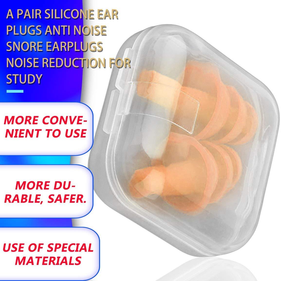 Garciasia Un par de tapones para los o/ídos de silicona convenientes Tapones para los o/ídos que roncan contra el ruido C/ómodo para dormir Accesorio de reducci/ón de ruido Color: amarillo