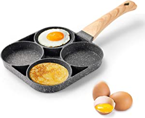 Aluminum 4-Cup Egg Frying Pan, Pancake Omelette Pan, Non-Stick Egg Cooker Pan Cookware, Poached Egg Pan, Egg Skillet, Multifunctional Fried Egg Cooker for Burgers and Bacon, Wood Grain Handle (Wood)
