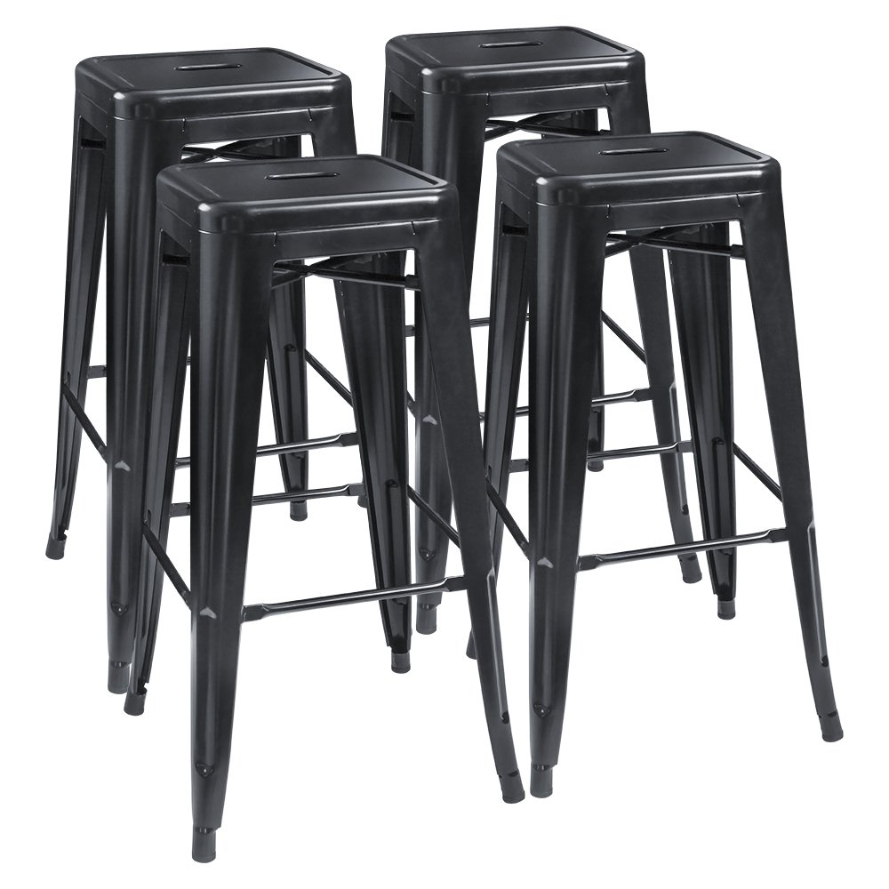 Furmax 30 Inches Metal Bar Stools High Backless Stools Indoor-Outdoor Stackable Stools Set of 4 (Black) by Furmax