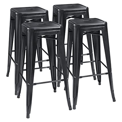 Furmax 30 Inches Black Metal Bar Stools High Backless Stools Indoor Outdoor Stackable Stoolsset Of 4