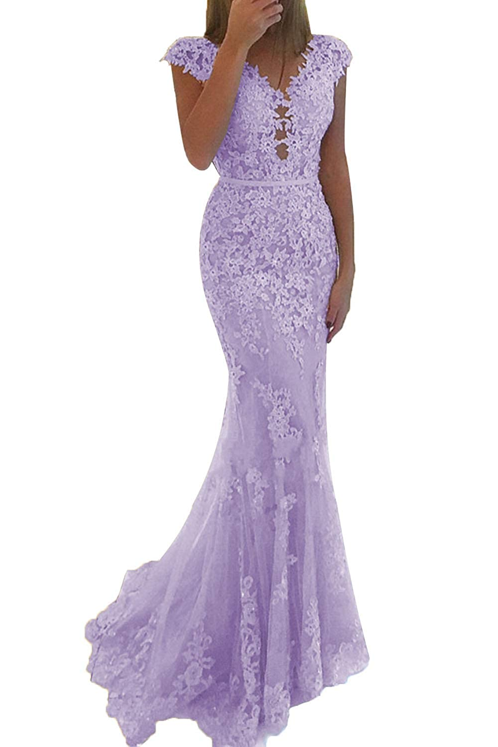 Lavender Promworld Women's Lace Applique Beaded Mermaid Prom Dress Cap Sleeve Tulle Evening Gowns Formal