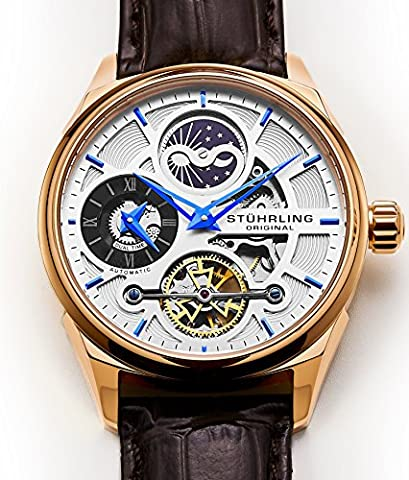 Stuhrling Original Men's Luxury Skeleton Dress Watch, Automatic Wristwatch, Rose Gold Accents and Silver (30mm Watch Face Protector)