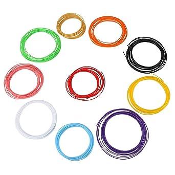 Repuestos de filamento, 10 colores 5 m/rollo 3D impresora Pluma ...