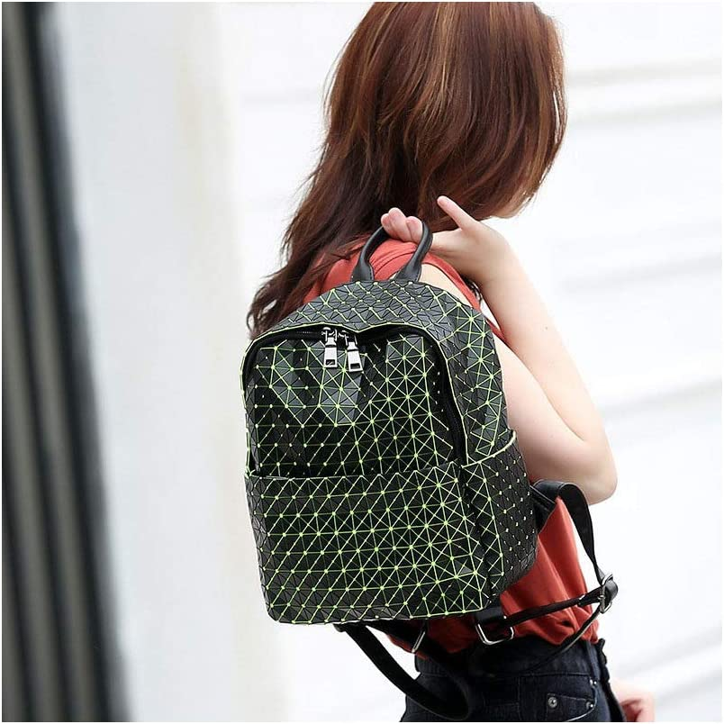 Backpack knapsack Rucksack Infantry Pack Field Pack,New Womens Rhombus Geometric Laser Outdoor Backpack,Green