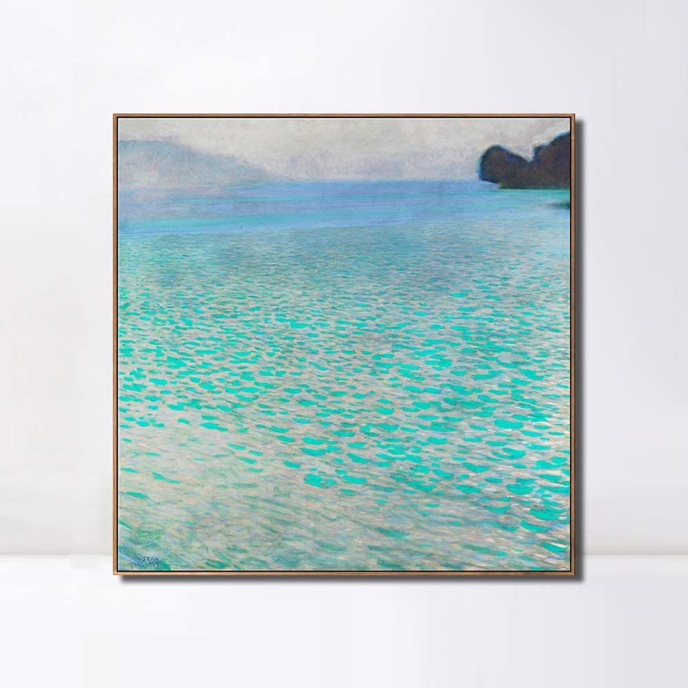 Invin Art Framed Canvas Giclee Print Symbolism And Landscape Series Lake Attersee By Gustav Klimt Wall Art Living Room Home Office Decorations Wood Color Slim Frame 28 X28 Posters Prints