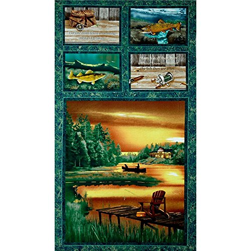 Fishing Rod, Reel & Creel Block Fabric Panel (Great for Quilting, Sewing, Craft Projects, Quilt or Throw Pillows) 23