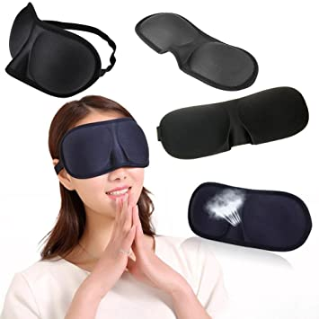 ce686f252 Amazon.com   ZHUOTOP Travel 3D Eye Mask Sleep Soft Padded Shade Cover Rest Relax  Sleeping Blindfold Black   Beauty