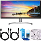 "LG 29WK600-W 29"" Class 21:9 UltraWide Full HD IPS LED Monitor w/ HDR 10 + Accessories Bundle Includes, 2x 6ft. HDMI Cable, SurgePro 6-Outlet Surge Adapter w/ Night Light & Screen Cleaner For LED TVs"