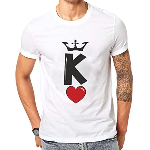 de74f69de5 King Queen Short Sleeve Couple T-Shirts Love Heart Print Graphic Tee (Color  :
