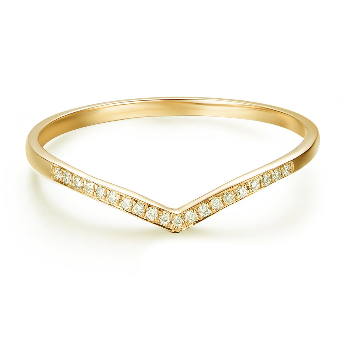 14K Gold Round Diamond V Shape Curved Wedding Ring (0.05 cttw, H-I2) (yellow-gold, 6.5)