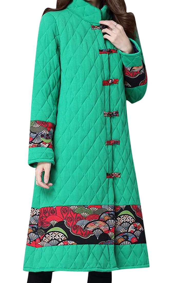 Fensajomon Womens Winter Stand Collar Chinese Style Print Thicken Quilted Coat Overcoat Green M