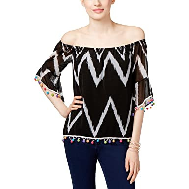 61997b5a0a3 INC International Concepts Petite Printed Pom-Pom Off-The-Shoulder Top (Zig