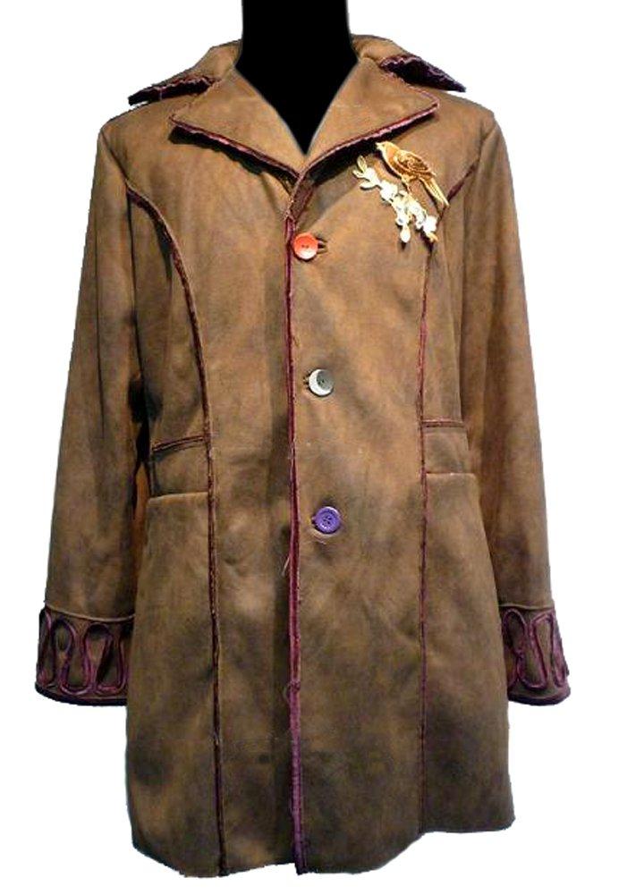 oem Exact MAD Hatter Trench Coat Jacket Alice Wonderland Costume + Free Bird Patch (XL)