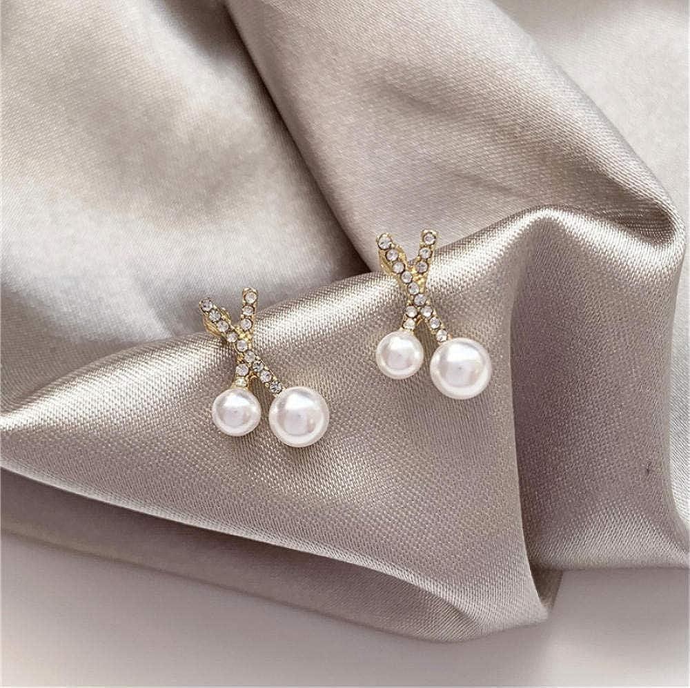 Pendiente Pendientes Moda temperamento microscopio contraído pendientes de perlas cruzadas pequeño nicho joker joya pendientes accesorios de joyería