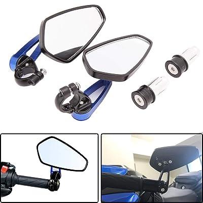 "Universal Black Motorcycle Billet Aluminum 7/8"" 22 Bar End Side Rearview Mirrors (Blue): Automotive"