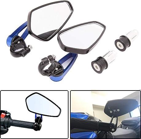 Universal Motorcycle Lenkerende Rückspiegel Blau Für Scooter Cruiser Sport Bike Chopper Auto