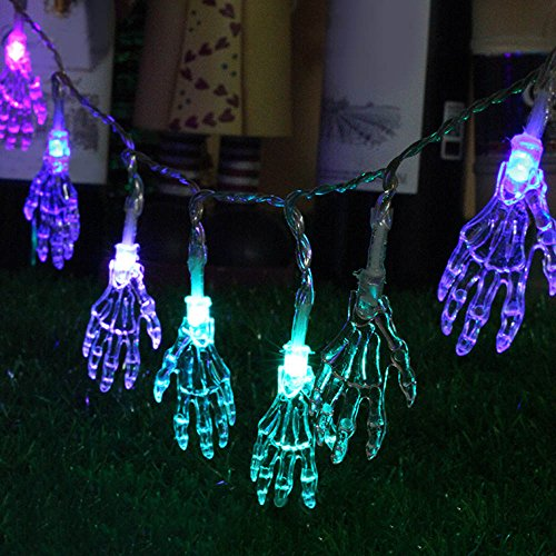 Halloween Lights Led Halloween Outdoor Props Halloween Skeleton Hand 1.2M 10leds LED Fairy String Lights Copper Home Outdoor Decoration Holiday Party Christmas Light New (Random)