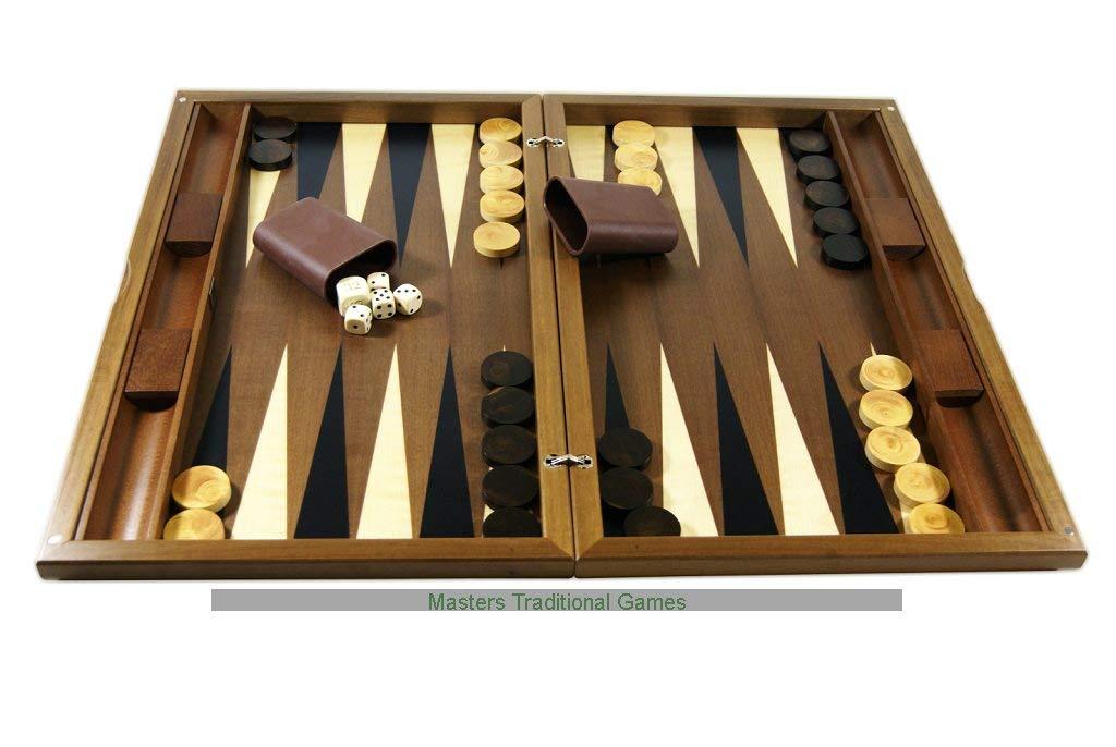Inlaid Playing Surface Dal Negro York Walnut 20-inch Backgammon Set