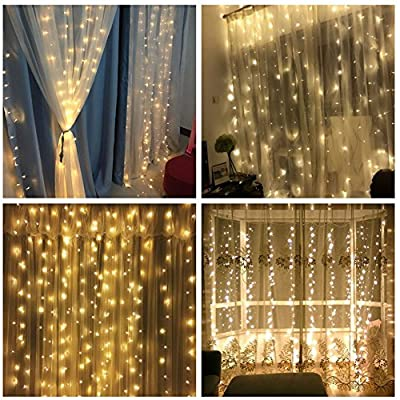 DLIUZ UL 304 LED 9.8FT Linkable Curtain Fairy Icicle Lights with 8 Modes for Wedding Party Family Patio Lawn