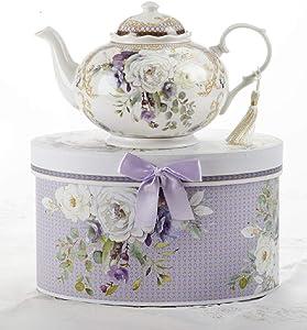 Delton 8150-7 Purple Elegance Porcelain Tea Pot, 6-inch Height