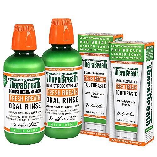 테라브레스 마일드 민트 가글 + 치약 콤보 TheraBreath Dentist Recommended Fresh Breath COMBO (가글 470ml * 2, 치약 113g * 2)
