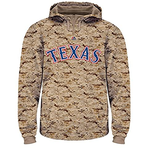 Majestic MLB Men's USMC Digi Camo Thermabase Hoodie (Medium, Texas Rangers) (Hoodies Texas)