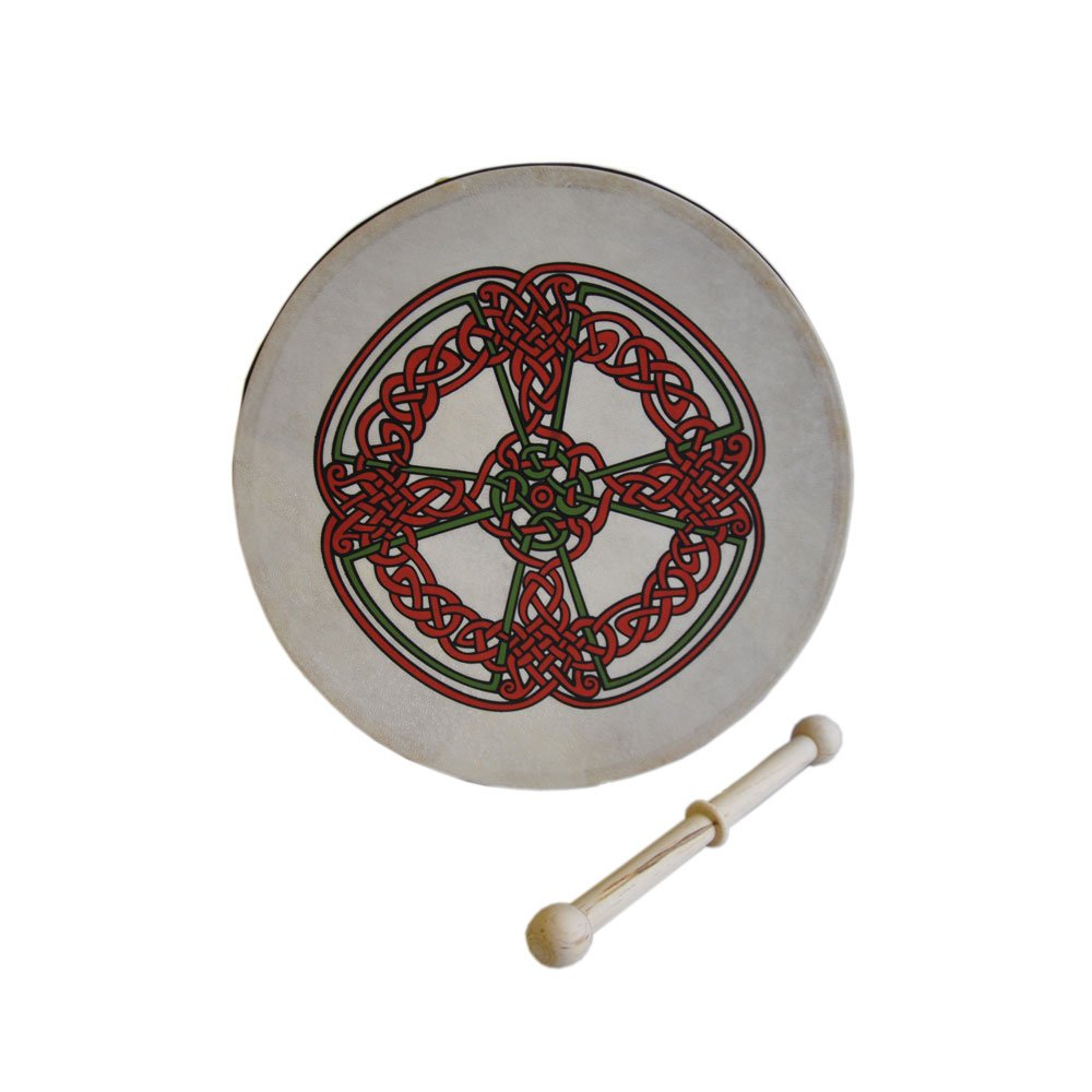 8'' Bodhran With Celtic Cross Knot Work Design