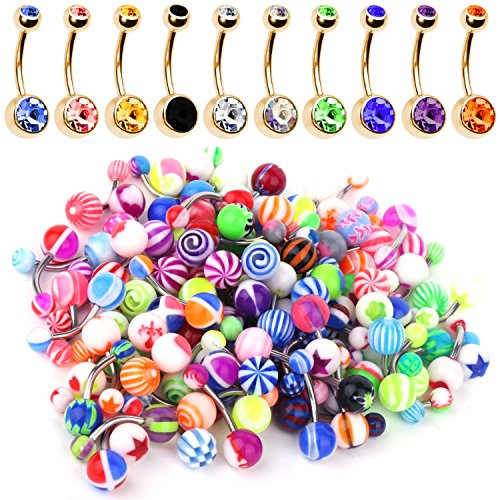 BodyJ4You 60PC Lot of 10 Belly Button Ring Goldtone Surgical Steel and 50 Mix Piercing Jewelry Rings Guage Belly Ring