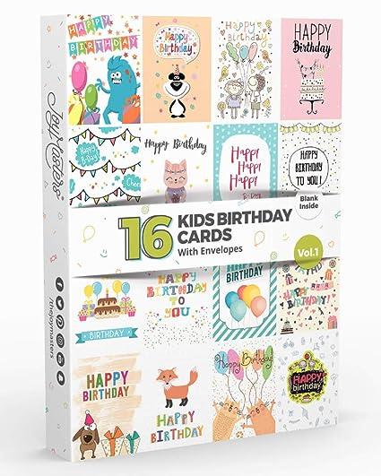 Joy Masters - 16 Tarjetas de Cumpleaños Infantiles | Paquete ...